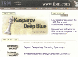 Thumbnail of screen print of www.ibm.com from May 1997